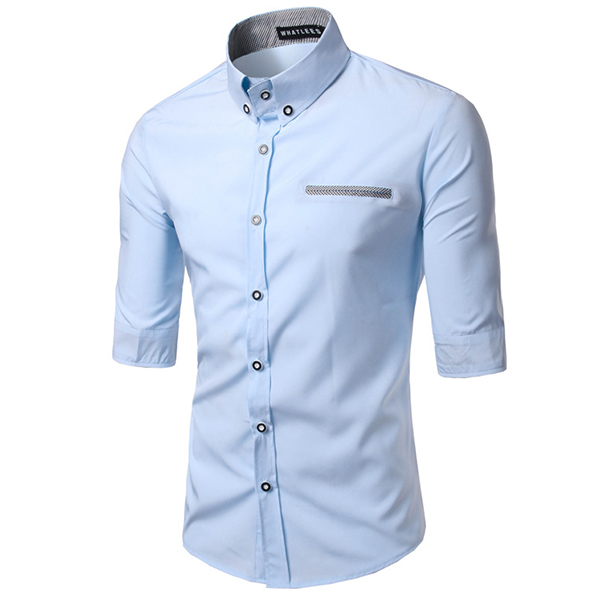 Button Down Pure Color Half Sleeve Business Designer Shirt