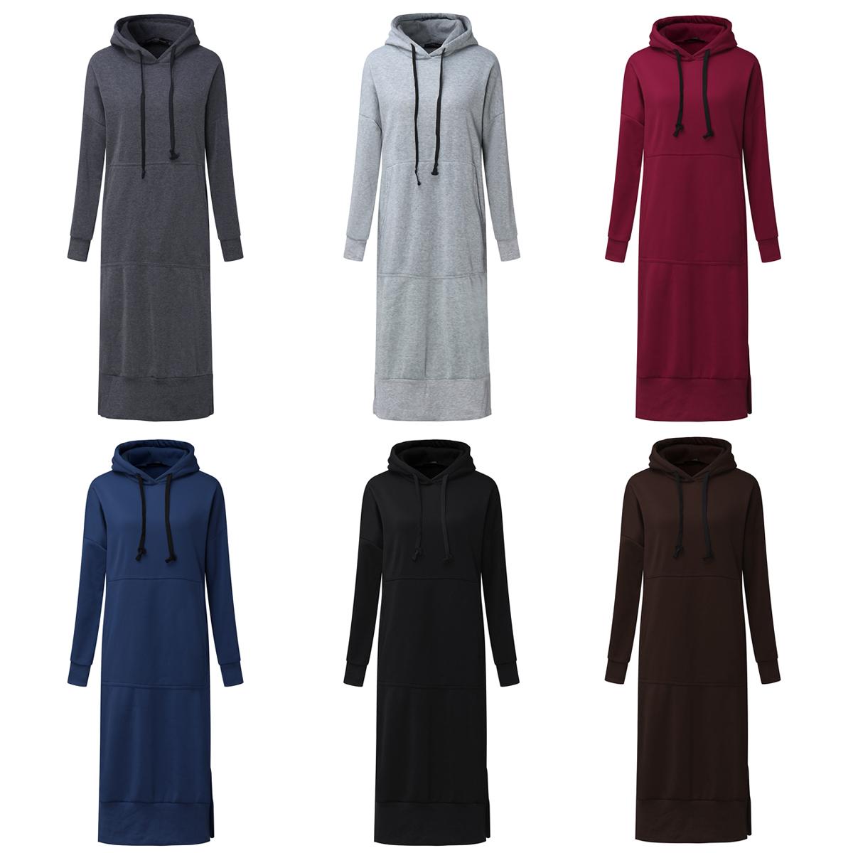 7 Colors Casual Women Solid Color Long Sleeve Pocket Hooded Sweatshirt Dress