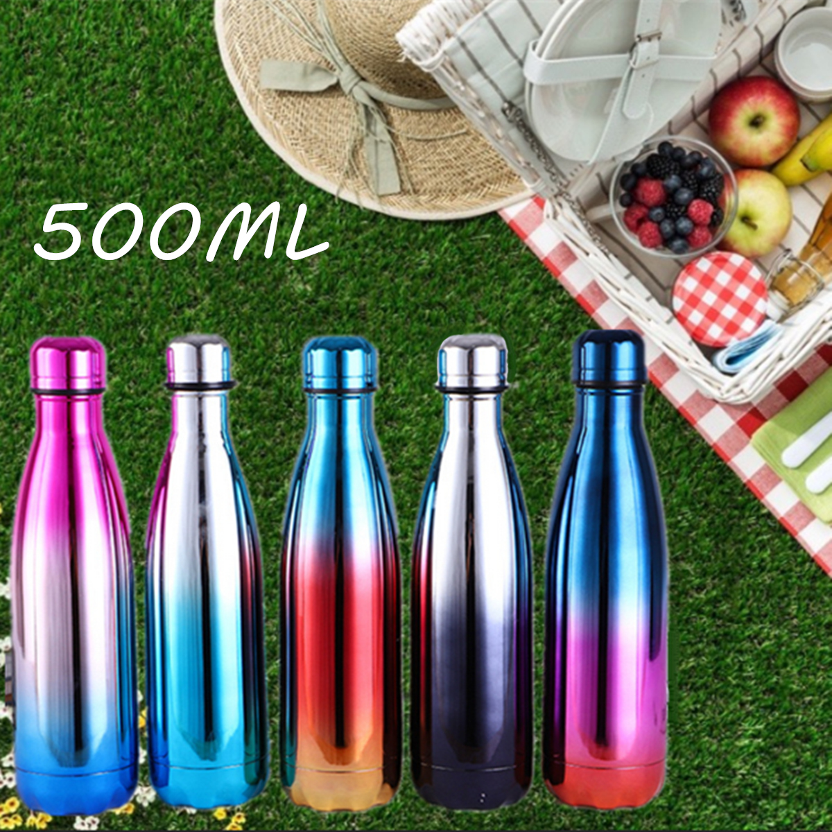 Vaccum Insulated Flask Water Bottle Thermal Stainless Steel Rainbow Sport 500ML