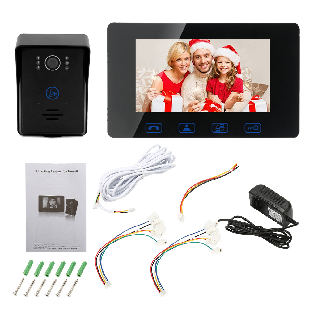 7 Inch Intercom Monitor Video Doorbell LED Security Camera System Waterproof Color