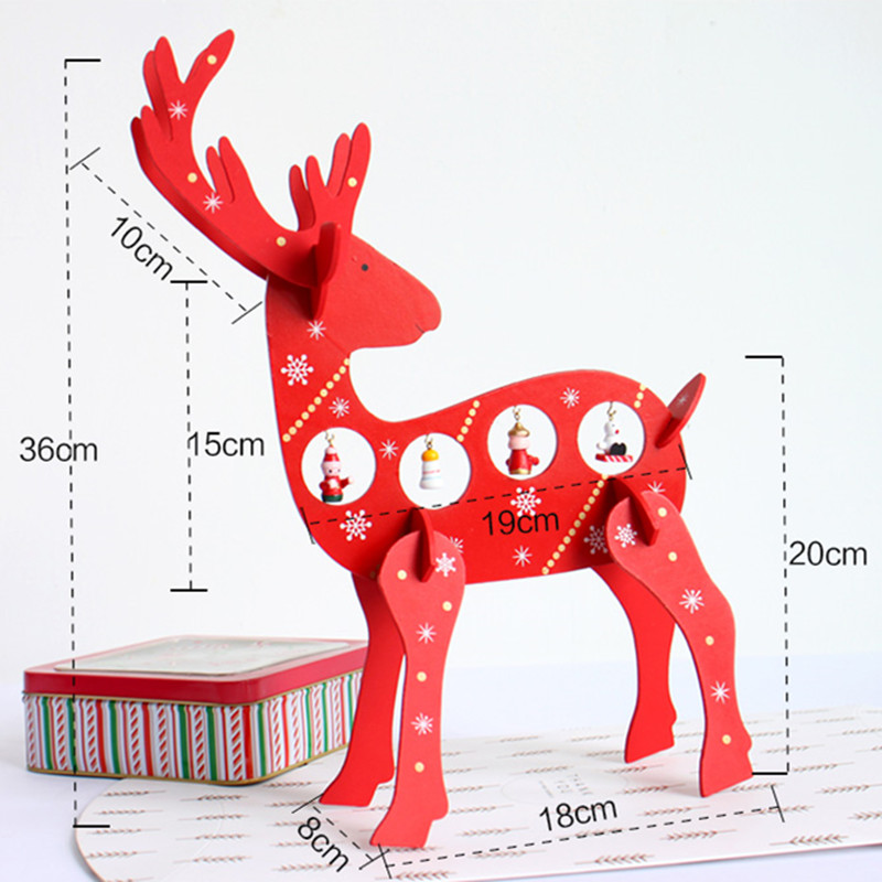 Christmas 2017 Deer Elk Wood Table Desktop Decoration Gift Mini Ornament Christmas Gifts