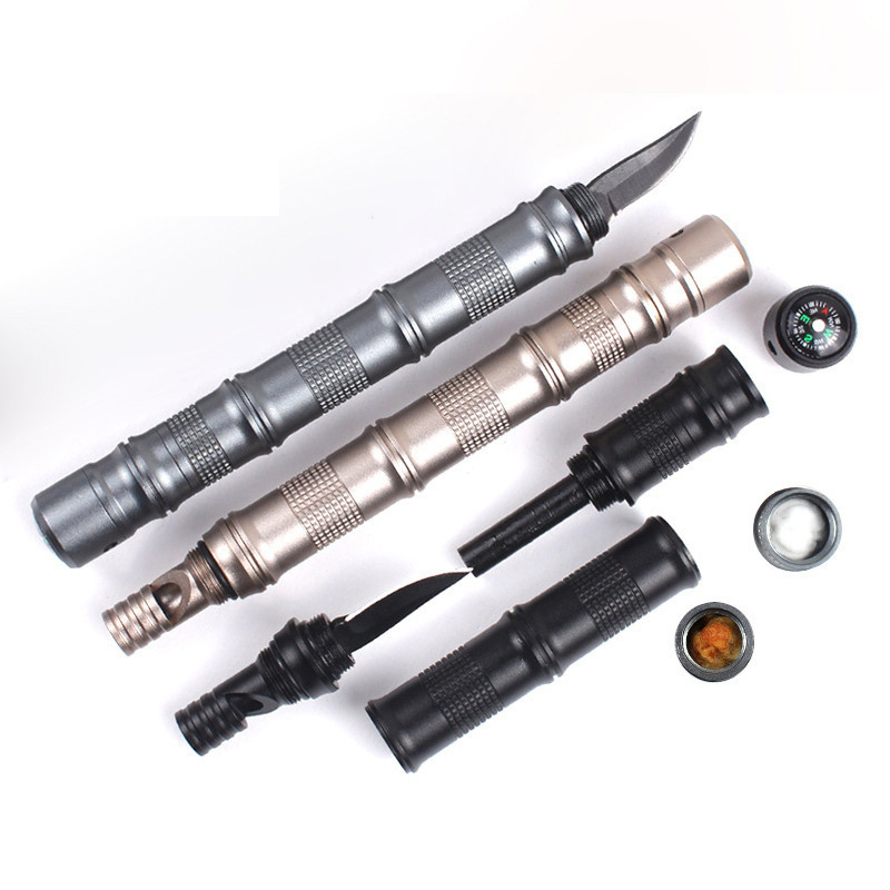 IPRee® Outdoor Camping Tactical Pen Pocket Knife Compass Whistle Flint Multifunctional Tools
