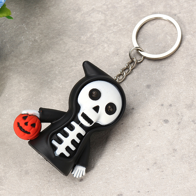 Black Led Light Skeleton Keychain with Scary Sound Pumpkin Design Key Ring