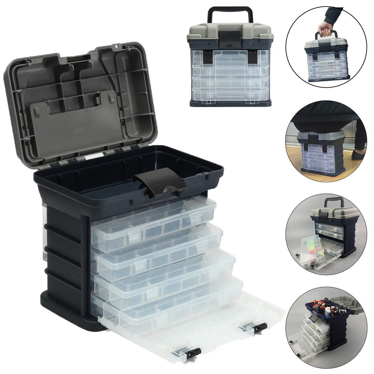 ZANLURE 4- layer Fishing Tackle Box Lures Storage Tray