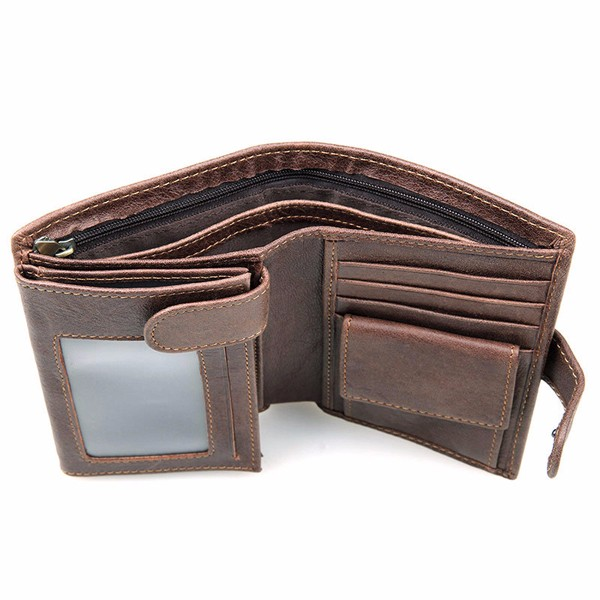 RFID Antimagnetic 11 Card Slots Card Holder Genuine Leather Cowhide Wallet For Men