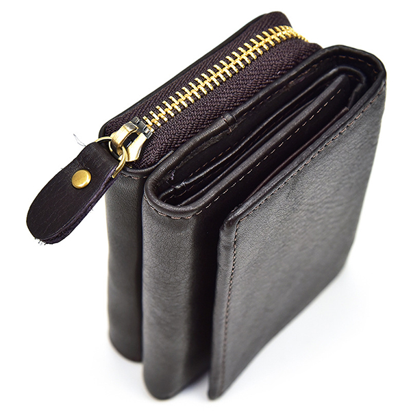 Men Women Trifold Genuine Leather Coin Bag Photo Slot Wallet