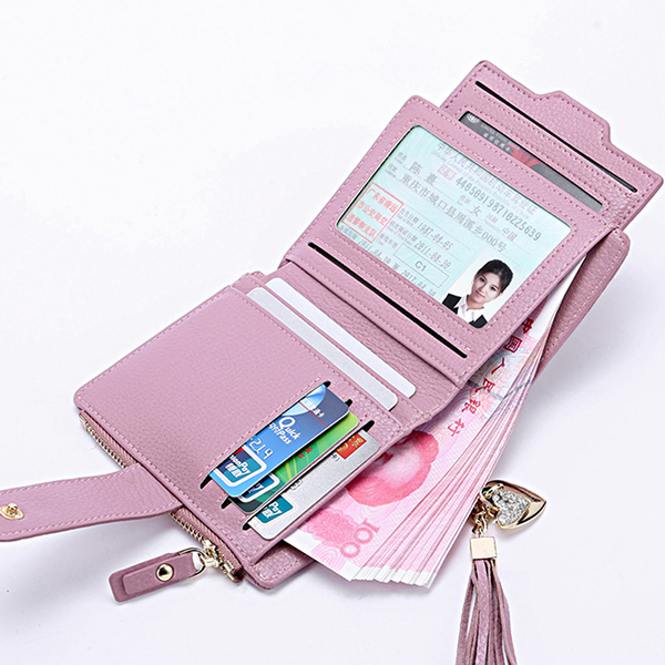 Tassel Genuine Leather Multi Slot Small Wallet Card Holder Purse For Women