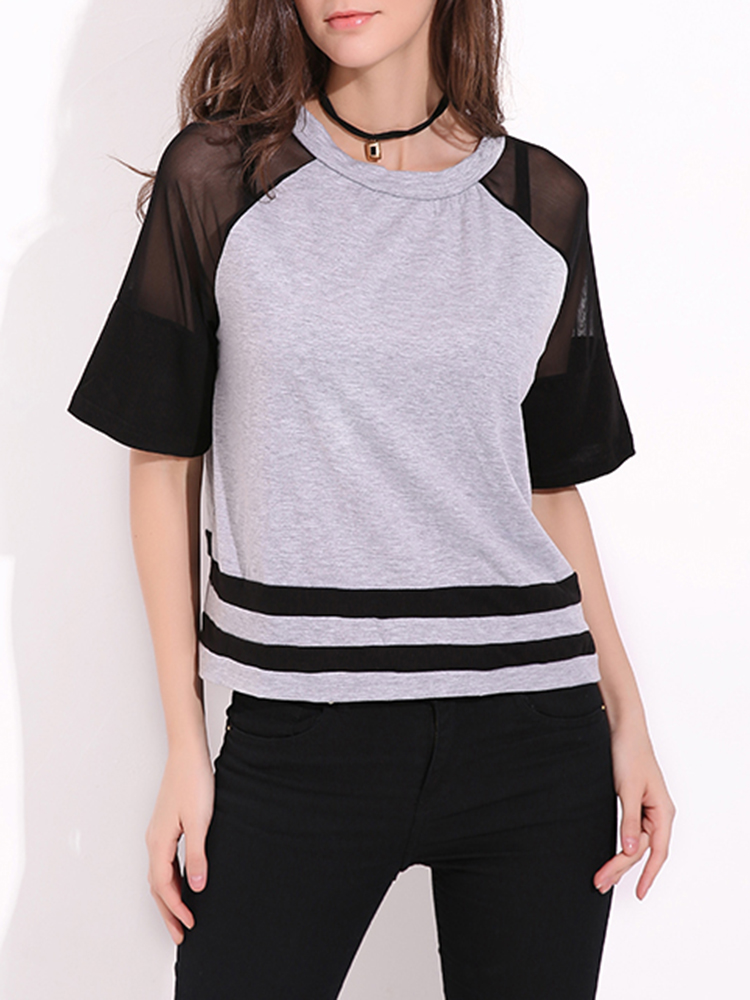 Grey Women's Mesh Patchwork Raglan Sleeve Crew Neck T-shirts