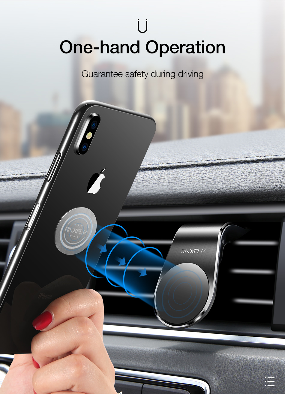RAXFLY Metal Air Vent Magnetic Car Mount Car Phone Holder For 4 Inch-7 Inch Smart Phone iPhone XS Max Samsung Galaxy S10 Plus