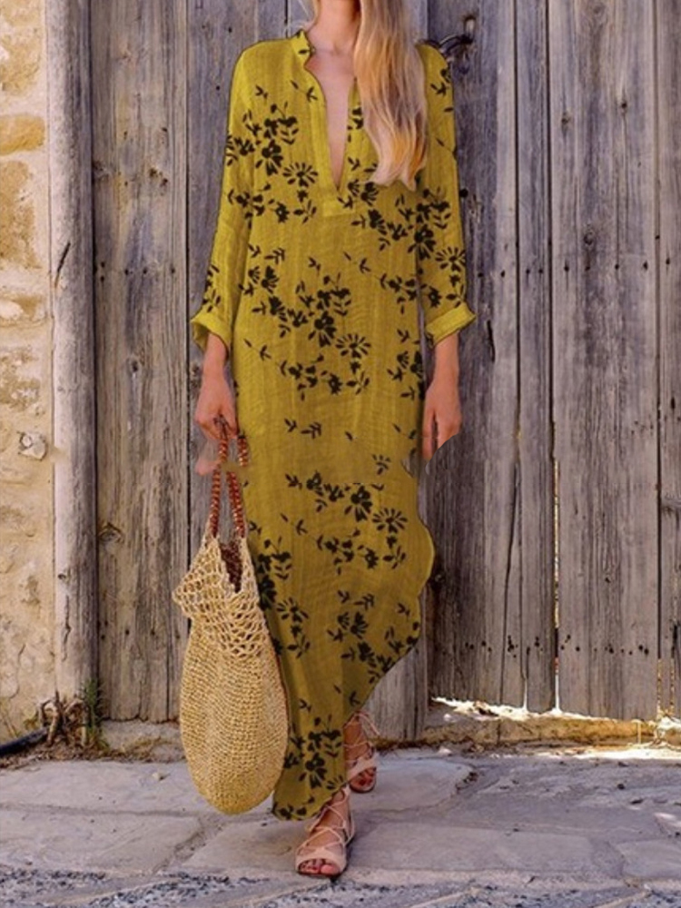 Women Casual V Neck Floral Print Maxi Dress