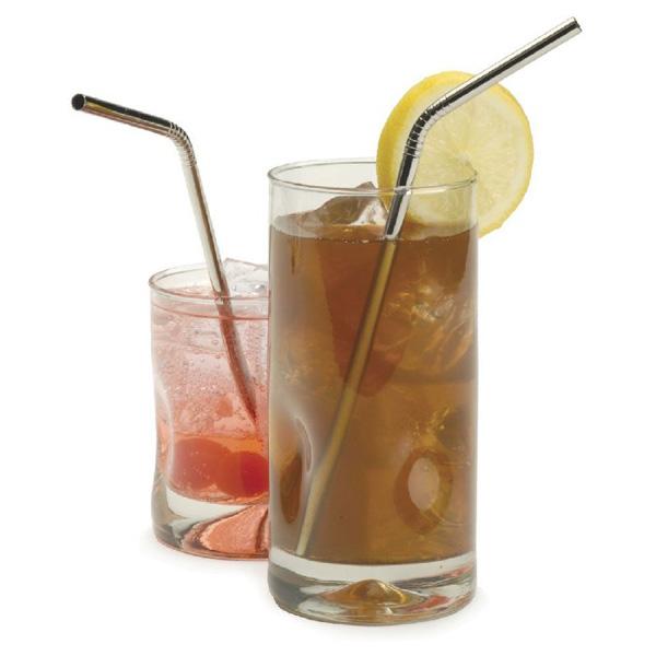 Image of Edelstahl gekrümmte Strohhalm Wiederverwendbare Kaffee Cocktail Straw