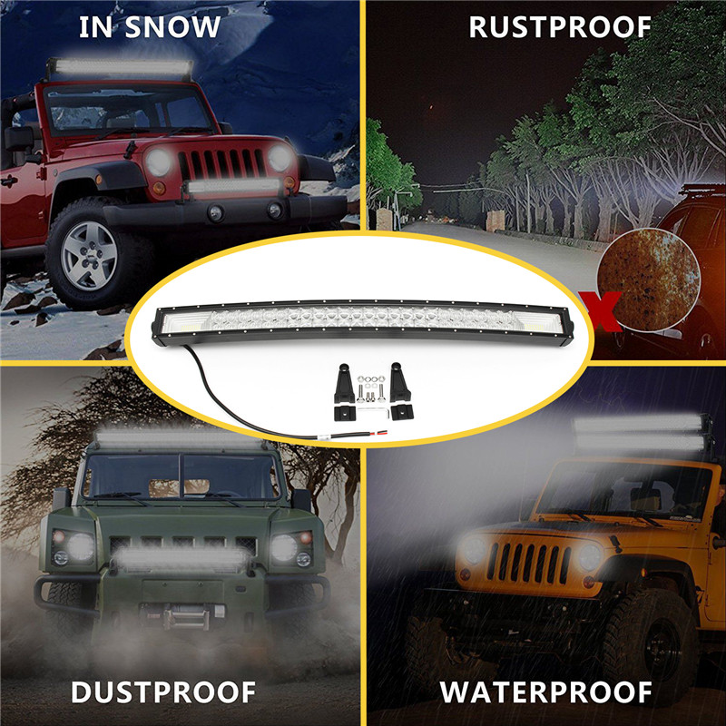 32Inch 1070W 5D 98 LED Work Light Bar Flood Spot Combo Lamps Bar for Offroad 4WD SUV Truck