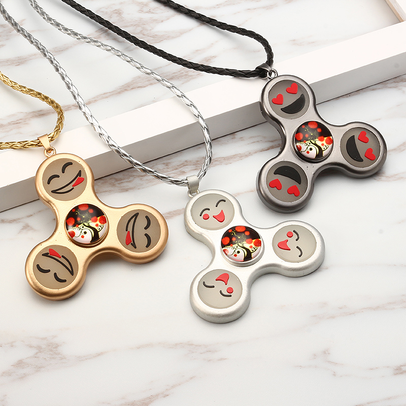 Unisex Fidget Spinner Smile Face Trinity Necklace Pendant Necklace for Men Women