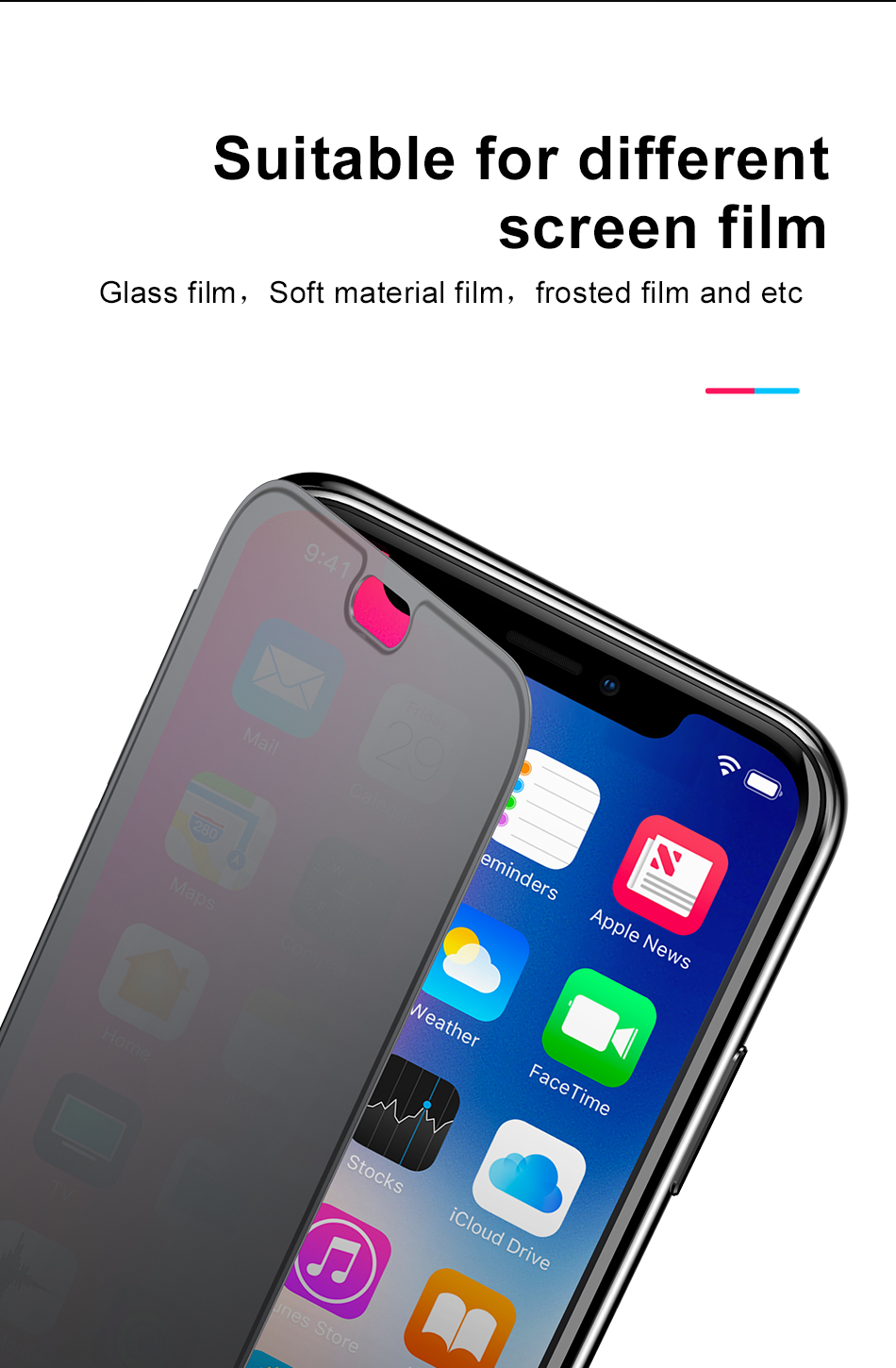 Baseus Window View Touchable Built-in Glass Screen Protector Full Body Protective Case For iPhone XS Max 6.5