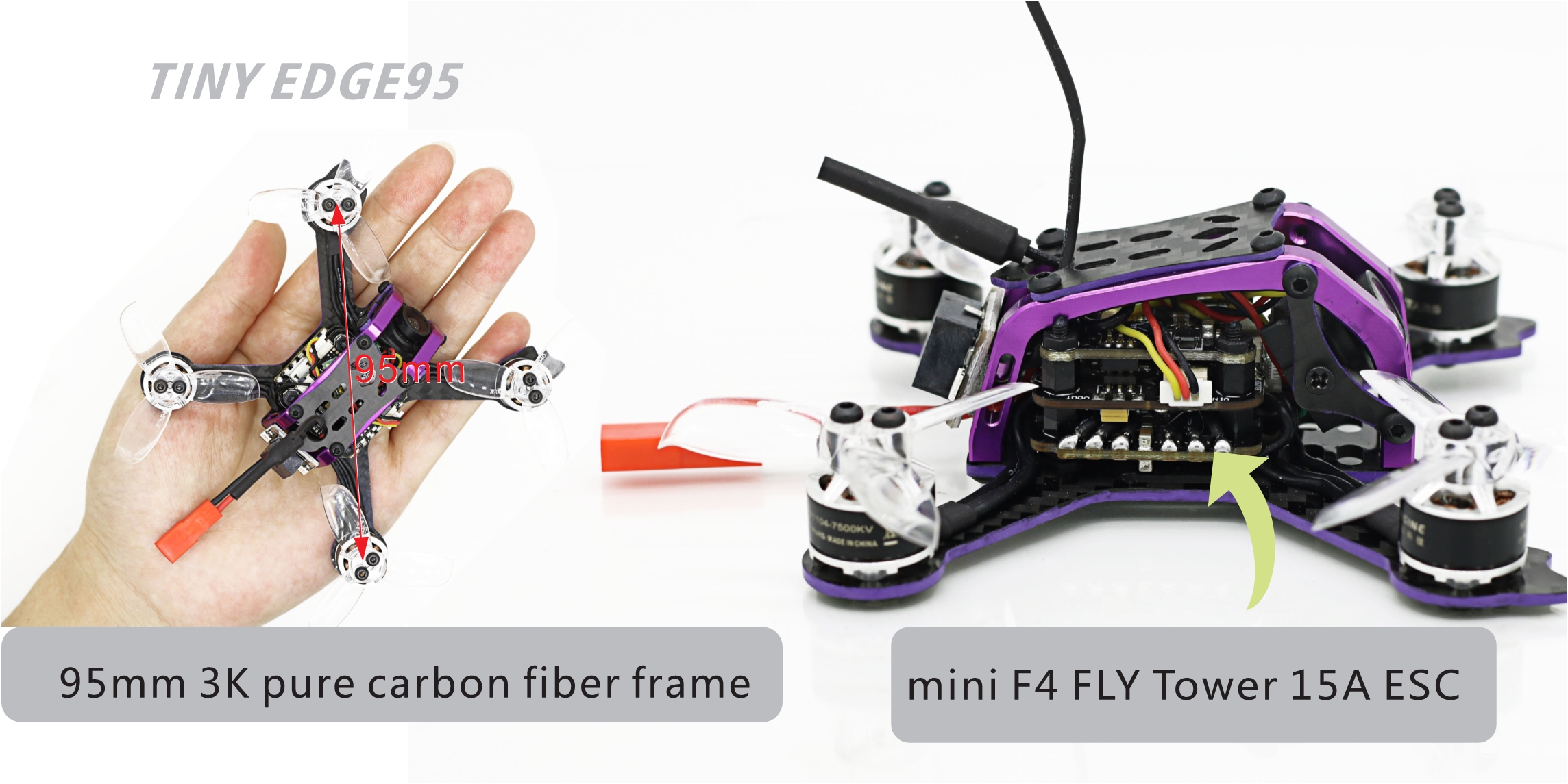 SKYSTARS Little Edge 95mm RC FPV Racing Drone PNP BNF W/ Micro F4 15A BLheli_S 800TVL 150mW 40CH VTX - Photo: 8