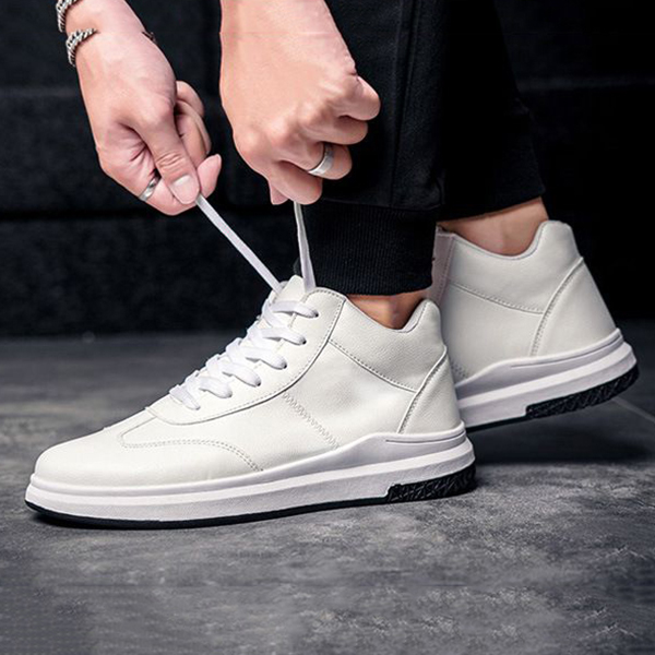 Men Comfortable Genuine Leather High Top Sneakers