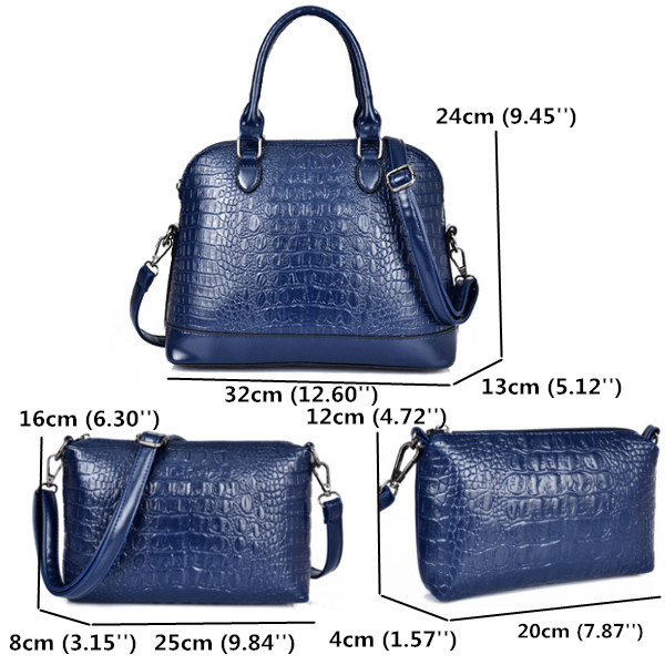 3 Set Women Crocodile Pattern Handbags Casual Shoulder Bags Elegant Clutches Bags