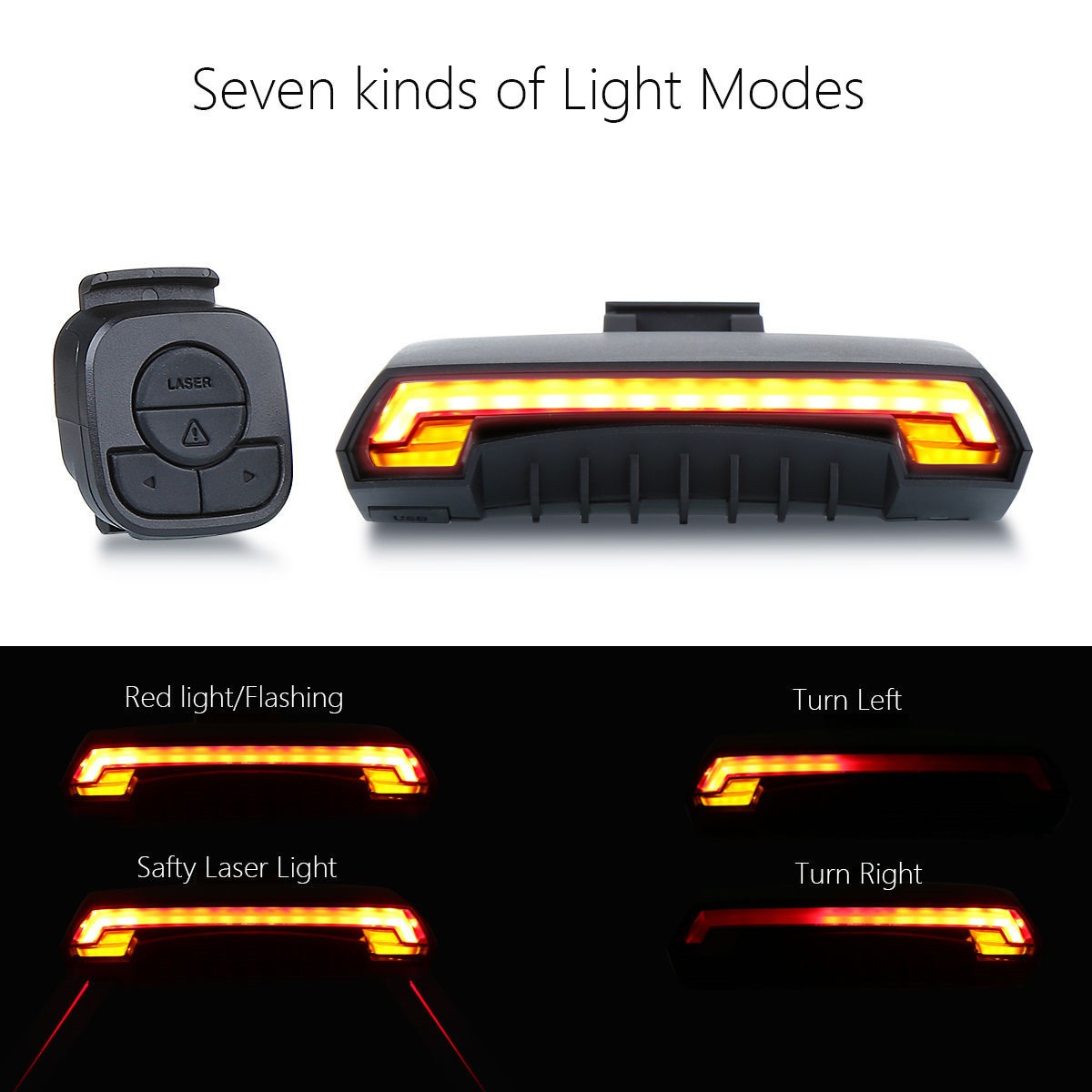 Rear Tail Laser LED Indicator Turn Signal Light Wireless Remote USB For E-bike
