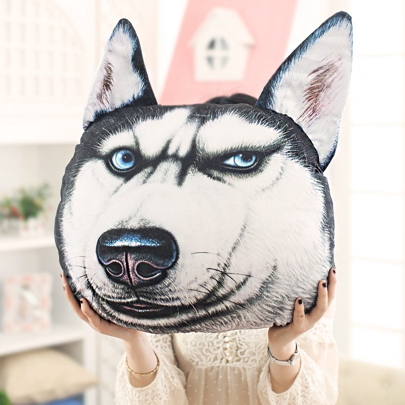 KCASA 3D Print Doge Kabosu Cushion Plush Cartoon Pillow Husky Akita Car Cushion Creative Dog Shape Nap Pillow Cute Seat Cushion Stuffed Animal Pillow Sofa Car Decorative Creative Birthday Gift