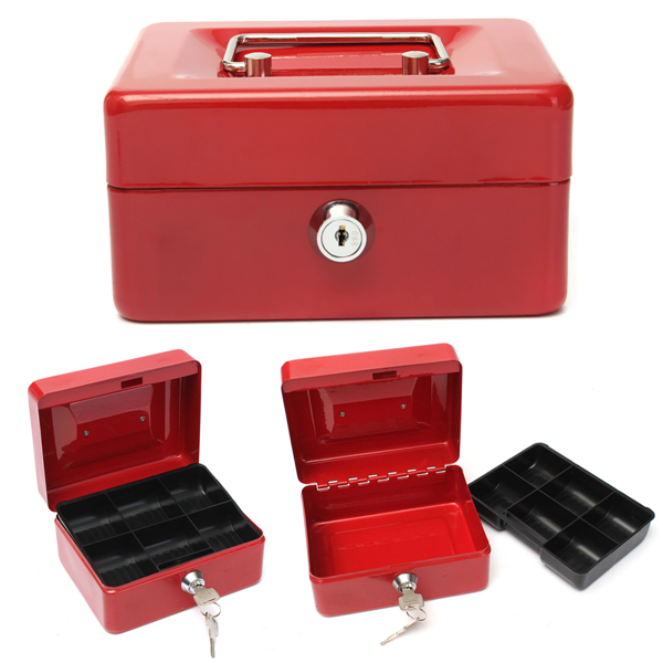 Cash Money Accessory Box Security Lock Lockable Metal Safe Small Case 150x120x80mm