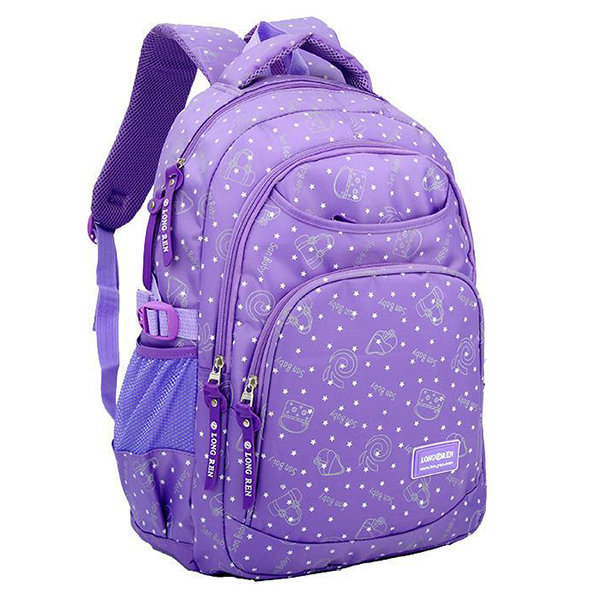Primary School Students Nylon Backpack Multi Pocket Large School Bag