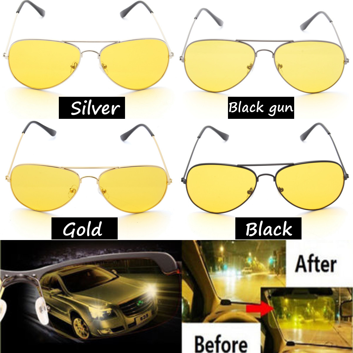 Outdoor Night Driving Glasses Anti Glare Vision Driver Safety Sunglasses