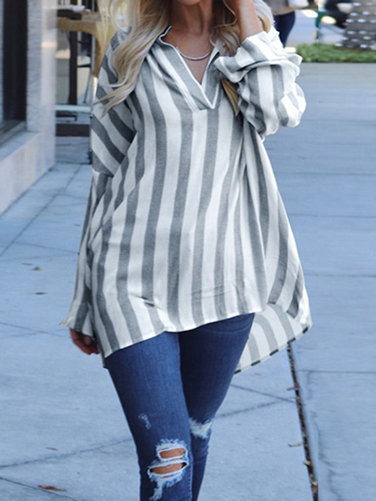 S-5XL Casual Striped V-neck Long Sleeves Loose Blouse