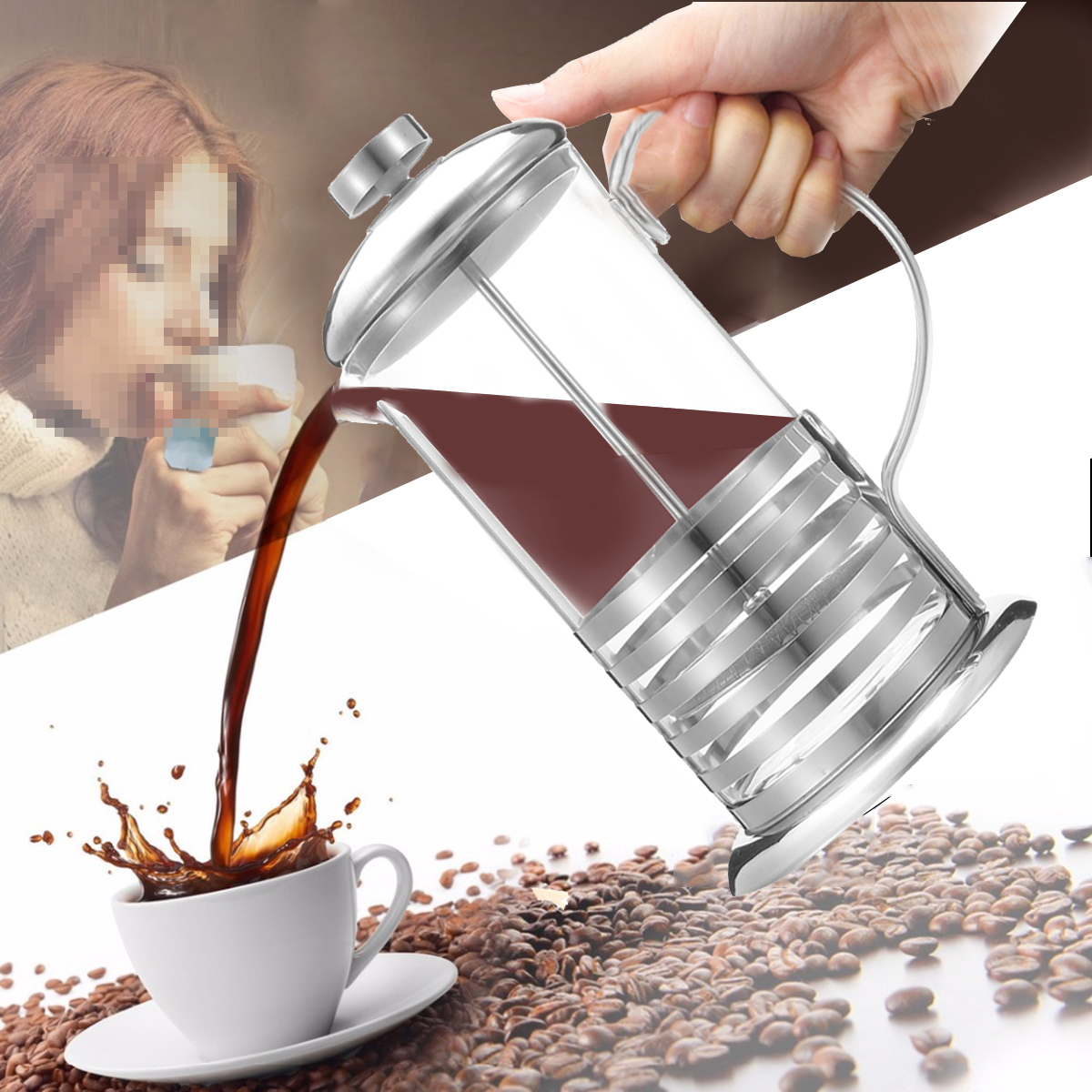 600/800ml Stainless Steel French Press Coffee Cup Tea Maker Cafetiere Filter