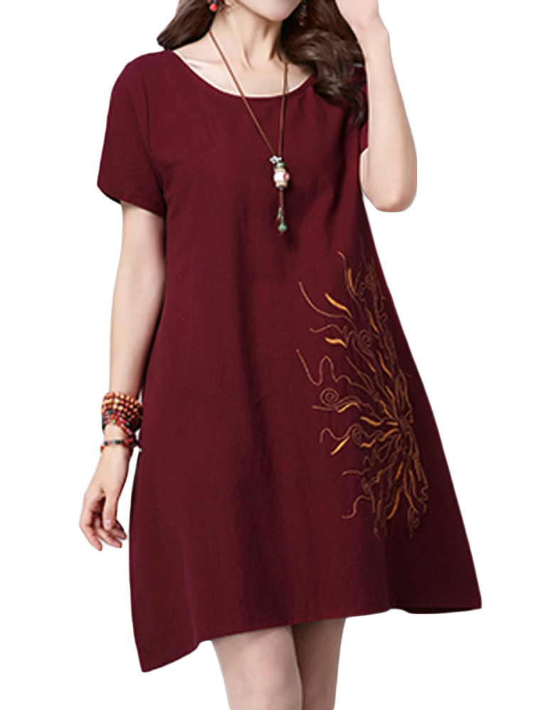 Elegant Women Embroidery Cotton Linen A-Line Mini Dress