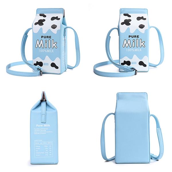 Women Cute Milk Box Crossbody Bag