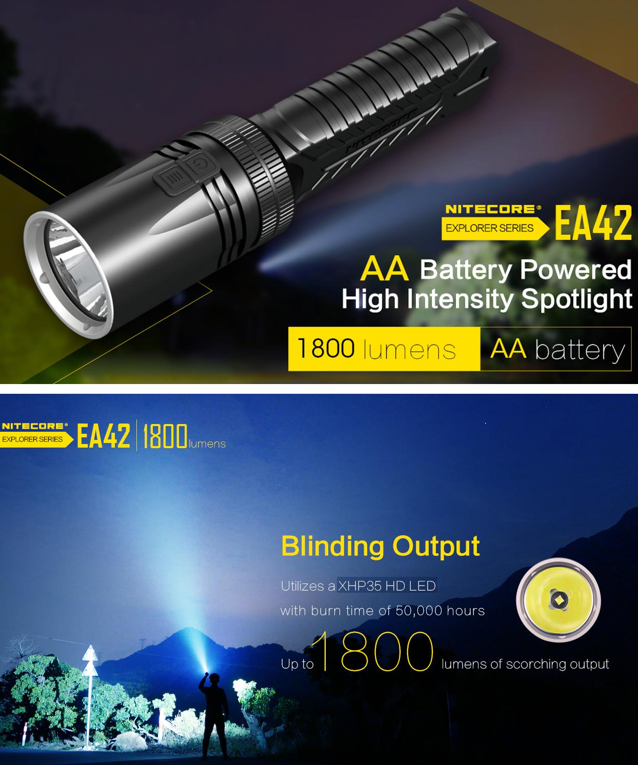 Nitecore EA42 XHP35 HD 1800Lumens 7Modes Dimming Tail Stand LED Flashlight for Outdoor Camping