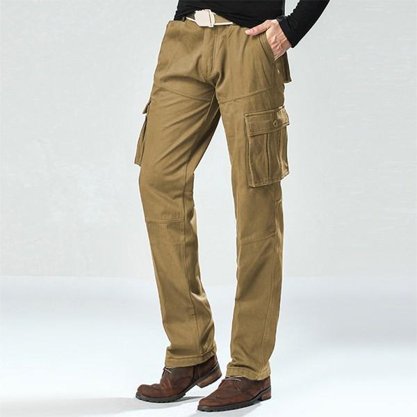 Mens Winter Plus Velvet Outdoor Cargo Pants Casual Military Sport Trousers