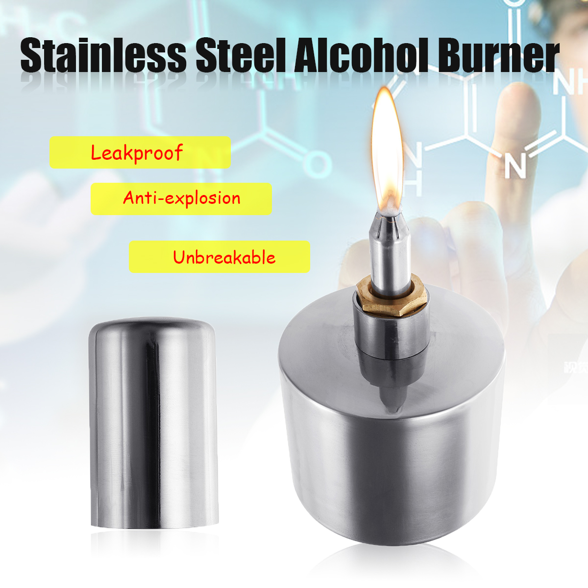 200ml Anti-explosion Leak Proof Safe Stainless Steel Lab Alcohol Burner Lamp
