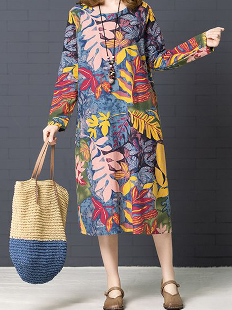 Casual Women Floral Printed Long Sleeve O-Neck Dress