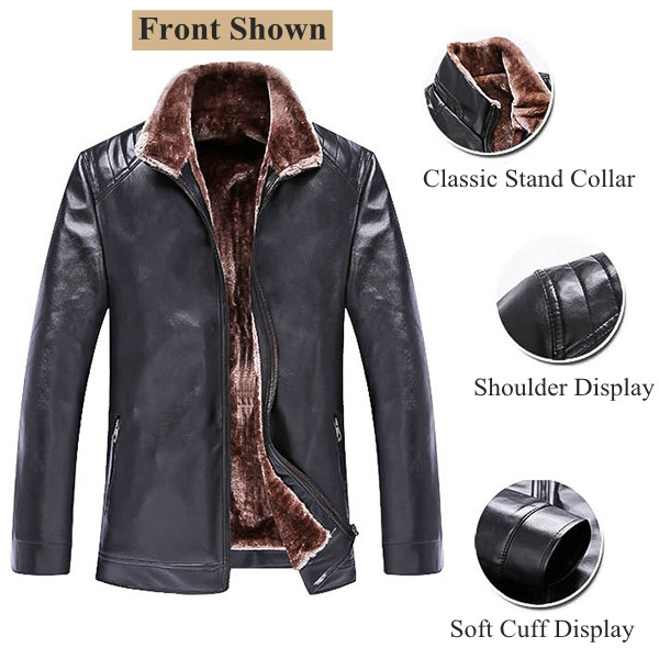 Mens PU Leather Warm Thicken Casual Stand Collar Zipper Black Jacket