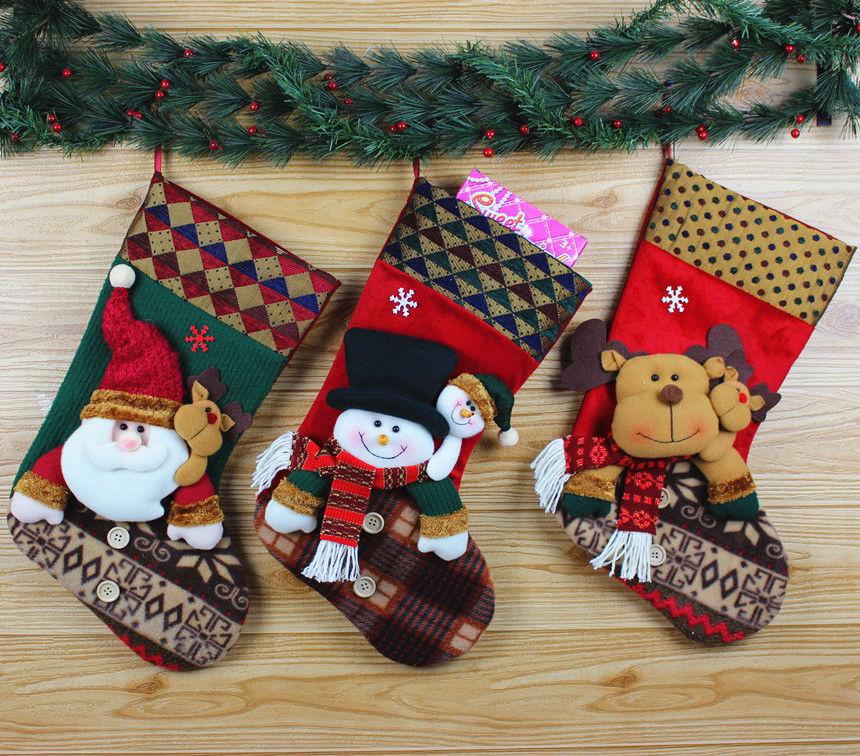 Christmas Gift Socks Bags Santa Snowman Elk Candy Boxes Hanging Stockings Tree Decoration