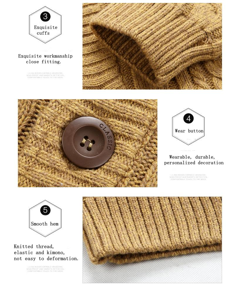 Warm Winter Cashmere Sweaters Men's Casual Stand Collar Thick Knitted Sweaters Cardigans