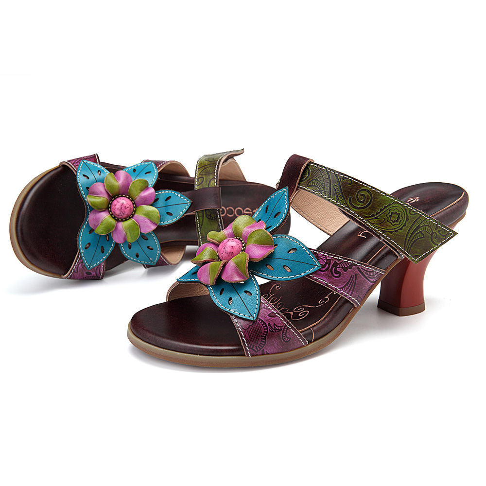 SOCOFY Genuine Leather Handmade Floral Adjustable Sandals