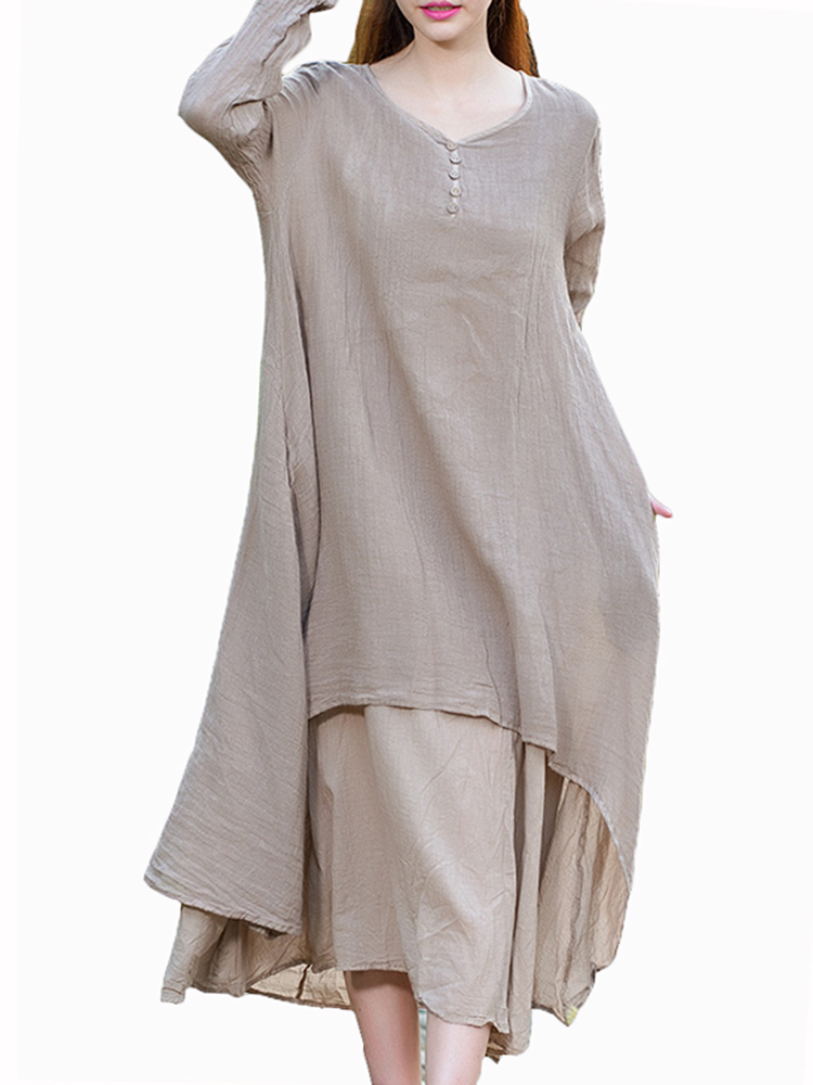 Vintage Two Piece Long Sleeve Solid Women Loose Maxi Dress