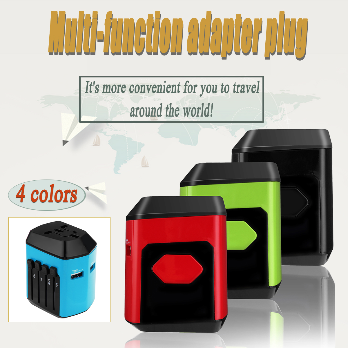 Dual USB Universal Travel AC Power Charger Adapter Socket Plug Converter UK/US/EU/AU