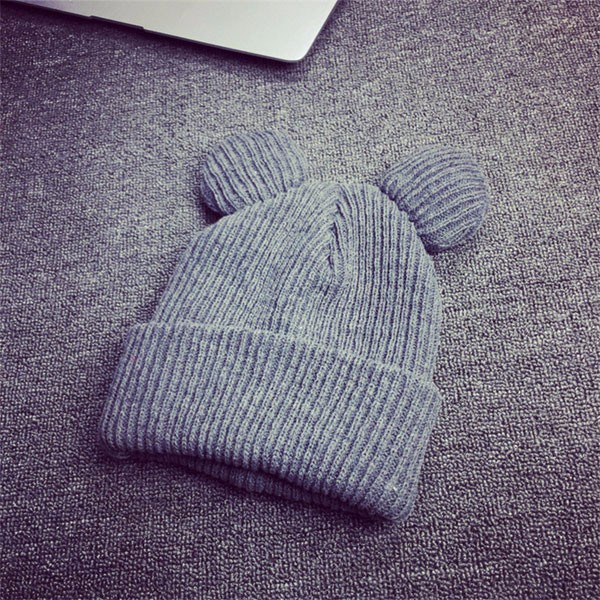 Women Beanie Thick Knitted Wool Hat Cute Ears Winter Warm Soft Hat