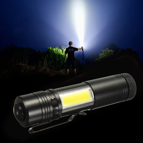 Mini XP-E 500LM 4Modes COB Portable Work Light LED Flashlight 14500