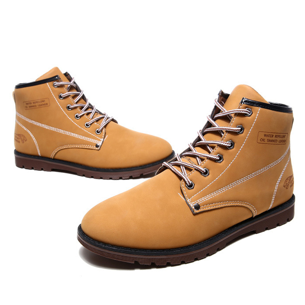 Men Boots Leather Casual Outdooors Sneaker Lace Up Fashion High Top Shoes
