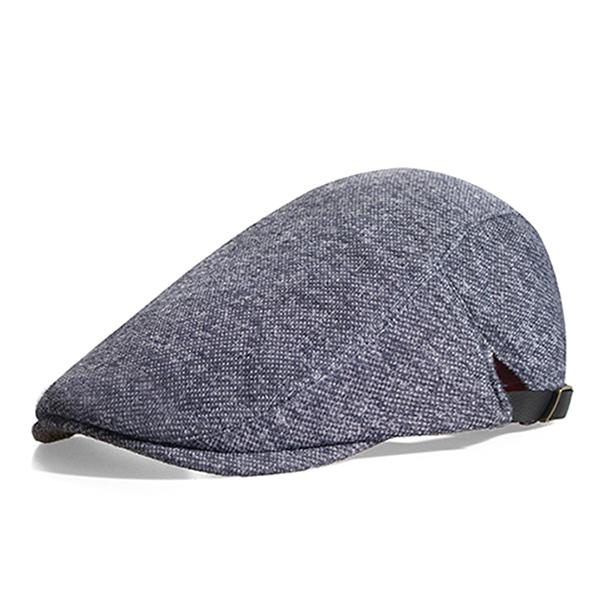 Mens Retro Wool Beret Cap Adjustable Casual Newsboy Visor Dad Hats