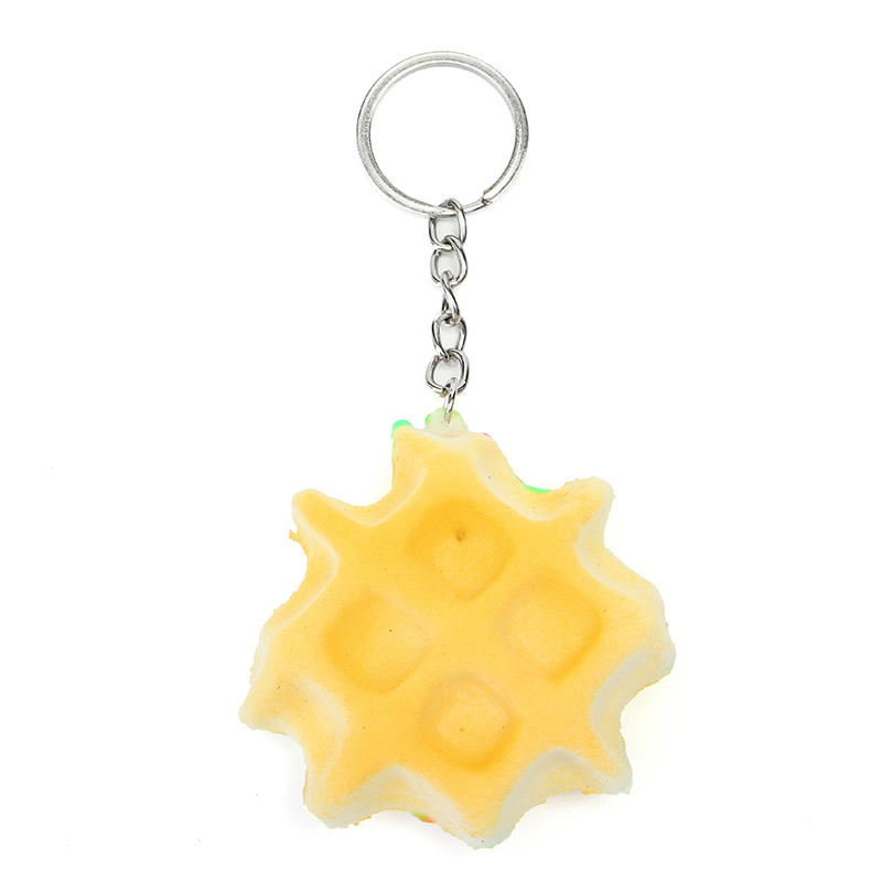 Squishy Waffle 5.5cm Soft Slow Rising Key Chain Phone Bag Strap Decor Collection Toy