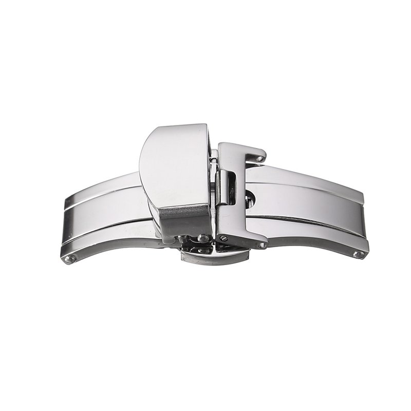Stainless Steel Butterfly Push Button Watch Band Buckle