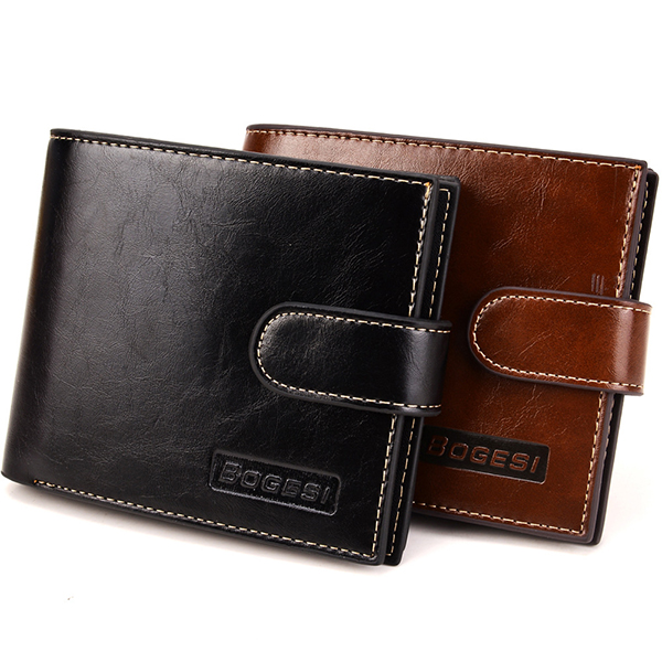 Men PU Leather Short Wallet with Coin Purse 10 Card Slots Card Holder
