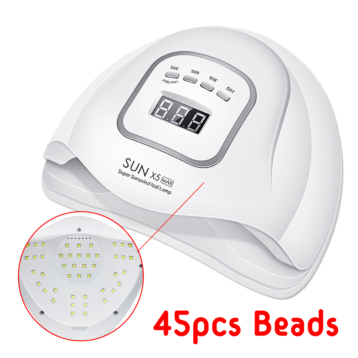 150W 45 Beads LED Smart UV Nail Polish Dryer Gel Curing Lamp