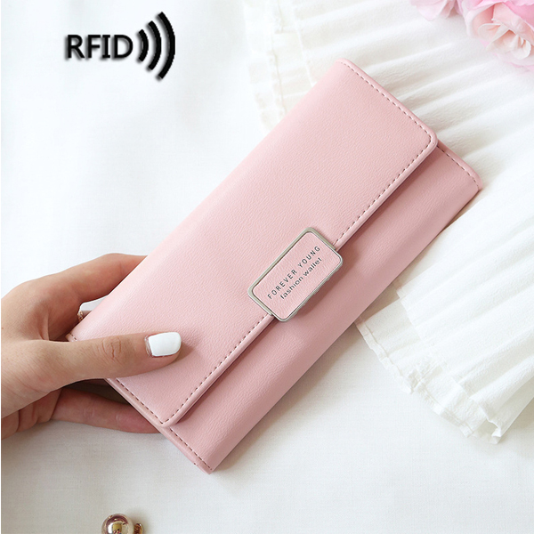 Details: Material Atificial Leather & Polyester Color Black, Blue, Light Green, Grey, Dark Blue, Wine Red, Pink Weight 100g Length 9.5cm (3.74'') Height 19cm (7.48'') Width 2cm (0.79'') Pattern Solid Inner Pocket 9 Card Slots, 1 Phone Slot,1 Photo Slot, 1 #purse