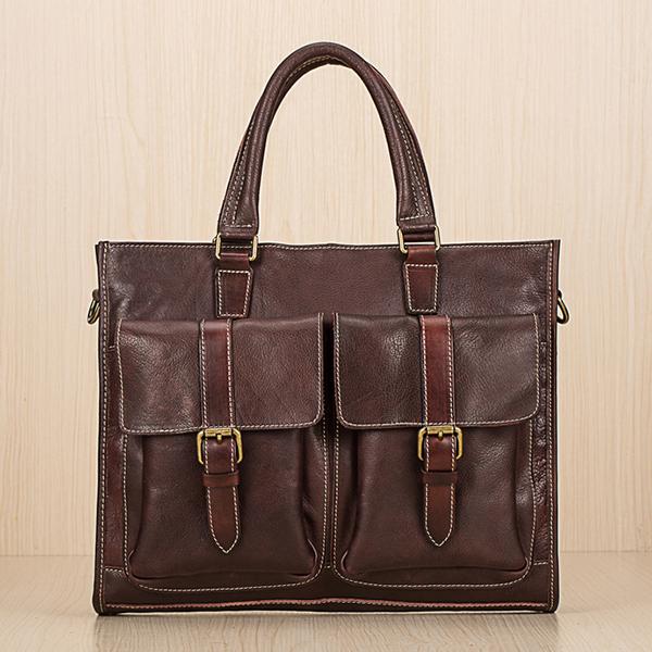 Men Genuine Leather Business Briefcase Handbag